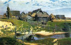 Василий Дмитриевич Поленов. Русская деревня (Северная деревня). 1889
