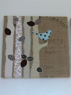 Jenny: Burlap Art by Stumbles & Stitches, via Flickr