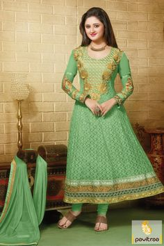 Sea green chiffon net party wear Anarkali Salwar Suit is made with embroidered worked, patch work amd lace patti works and cut works. The nice anarkali dress.