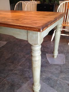 Farm table from the 1990's updated. Legs painted with Annie Sloan Chalk Paint Duck Egg and waxed with a lightened dark wax. Top stained with Special Walnut.