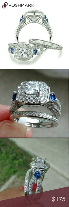 NWT Princess Cut 925 Stamped Wedding Set Size 6 A breathtaking wedding set that will turn heads with it's beauty. Absolutely gorgeous and elegant. 1.2 karats center stone with beautiful blue cz's. Stamped 925. Cut to look like a real diamond. Jewelry Rings