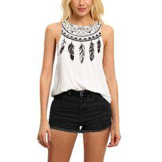 >> Click to Buy << Women Fashion Sleeveless Vest  Women Tops Korean Street T Shirt Women Summer White Feather Print Tank Top #Affiliate