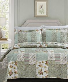 Loving this Green Floral Florence Quilt Set on #zulily! #zulilyfinds