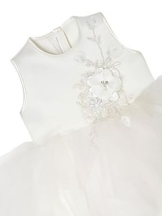 Floral lace design with tutu skirt. Sleeveless dress in soft white. Although popular as a christening dress, it can be worn on any special occasion. Girls Dresses, Flower Girl Dresses, Lace Design, Special Occasion Dresses, Floral Lace, Tutu, Party Dress, Ruffle Blouse, Wedding Dresses