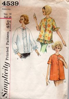 60s Simplicity Sewing Pattern Maternity by AdeleBeeAnnPatterns, $6.50
