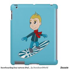 Snowboarding boy cartoon iPad case