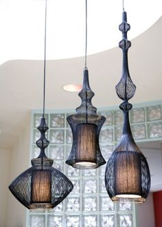 Idea provoking trio...instead of searching aimlessly for a group of varying shapes of arabic or moroccan pendant lamps, I think I will spray a bunch of them to create uniformity in some mix-matched ones. My search is over!