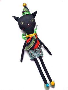 Cat Rag doll cloth art doll black linen by JessQuinnSmallArt, £97.00