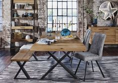 Large Dining Room Table, Dining Table With Bench, Dining Table Chairs, Dining Rooms, Dining Area, Dining Decor, Dinner Tables Furniture, Furniture Village, Industrial Style Dining Table