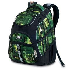 High Sierra Access Backpack, Green Pattern, 20x15x9.5-Inch   - Click image twice for more info - See a larger selection of school backpacks at http://kidsbackpackstore.com/product-category/school-backpacks/ - kids, kids backpack, school backpack, everyday backpack, school bag, gift ideas, teens backpacks.
