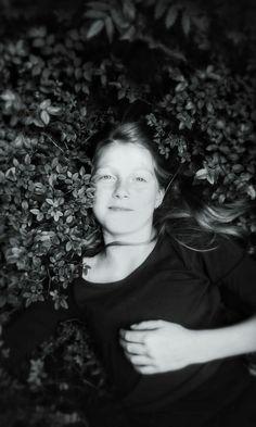 Beauty girl in dark forest.