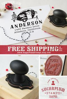 Custom christmas return address stamp with by SugarPlumStamps
