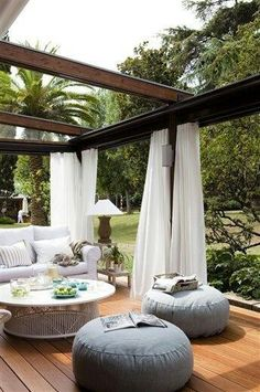 Pergola patios are a popular trend because they provide some shade and are easy to hang objects like curtains and lights from. This outdoor room gives you the homey feeling of your living room with a backyard breeze. Outdoor Rooms, Outdoor Dining, Outdoor Gardens, Outdoor Pergola, Outdoor Furniture, Outdoor Seating, Garden Furniture, Outdoor Lounge, Wooden Pergola