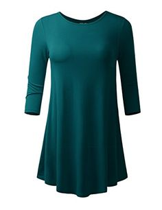 ALL FOR YOU Women's 3/4 Sleeve Round Neck Flare Hem Tunic Teal XXX-Large