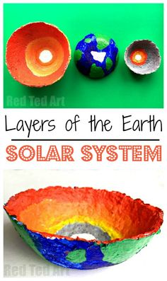 Layers of the Earth Bowls - Science Fair Project - A fabulous RECYCLED project for Earth Day or any Science Fair Project. Explore the basic Solar System - Sun, Earth and Moon, with this fun Art come Science projects - includes information about the earth' Earth And Solar System, Solar System For Kids, Solar System Art, Solar System Crafts, Earth Science Projects, Earth Day Activities, Earth Layers, Layers Of Earth Project, Making Paper Mache