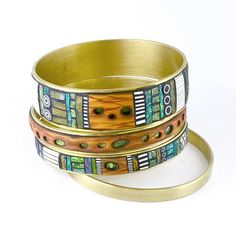 Set of  Iridescent Mosaic Brass Bangle Bracelets by LizardsJewelry, $210.00