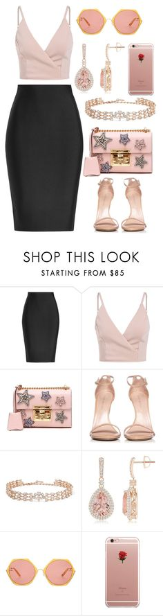 """Rose Gold"" by lovelydgessy on Polyvore featuring Roland Mouret, Gucci, Stuart Weitzman, Oscar de la Renta and ETUÍ"