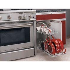 Rev-A-Shelf 5CW2-1222-CR Base Cabinet Easy Pullout 2 Tier Cookware Organizer - Walmart.com - Walmart.com Inside Kitchen Cabinets, Base Cabinets, Kitchen Pantry, Kitchen Appliances, Diy Kitchen, Kitchen Ideas, Kitchen Design, Kitchen Organization, Kitchen Storage