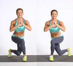 Target your outer tush and inner thighs with one easy-to-follow body-weight exercise.  Start from standing, and step your left leg behind you and to the right so your thighs cross, bending both knees as if you were curtsying. Return to standing, and switch sides. Perform as many proper reps as possible for one minute.  Source: POPSUGAR Studios