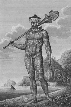Engraving of a tattooed warrior of Nuku Hiva, Marquesas Islands, i Adam… Marquesas Tattoos, Ancient Tattoo, Tattoo Museum, Island Tattoo, Filipino Tattoos, Filipino Art, Filipino Tribal, Filipino Culture, Polynesian Tattoos