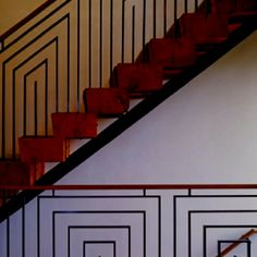 Graphic rail and chunky solid wood stairs..