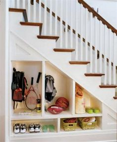 How To Organize Under Stairs Space - Hallway Under Stairs Storage Ideas. Do this to basement stairs. Shoe Storage Under Stairs, Space Under Stairs, Staircase Storage, Hallway Storage, Stair Storage, Storage Spaces, Storage Ideas, Shelving Ideas, Diy Storage