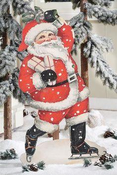 Vintage Skating Santa with Mistletoe - Large Standing Cutout