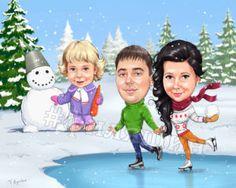Семейный шарж на Новый год  #шаржи #филяшин #caricature #art #merry_christmas