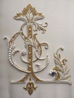Art : Embroidery & Ribbonwork Detail of Ornate letter. Pearl embroidery done by Larissa Borodich Soi Pearl Embroidery, Tambour Embroidery, Embroidery Letters, Silk Ribbon Embroidery, Embroidery Fashion, Beaded Embroidery, Embroidery Stitches, Embroidery Designs, Tambour Beading