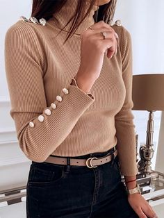 Fashion High Collar Long Sleeve Pullover – wanokitty pullover outfit jeans athletic pullover with jeans athletic pullover hoodie Outfit Jeans, Sweater Outfits, Comfortable Outfits, High Collar, Jean Outfits, Sleeve Styles, Pullover Sweaters, Turtle Neck, Athletic