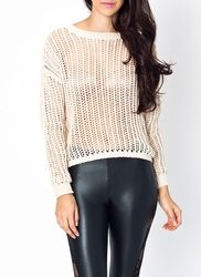 open knit cut-out sweater
