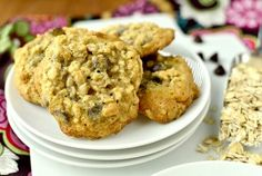 Chewy Chocolate Chip Oatmeal Cookies by Iowa Girl Eats