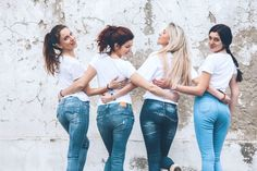 Group of four young diverse girls wearing blank white tshirt and jeans posing against rough street wall, fashion urban clothing style, mockup for t-shirt print store Urban Style Outfits, Fashion Outfits, Womens Fashion, Fashion Tips, White Tshirt And Jeans, Blue Jeans, Neue Outfits, Girls Image, Model Release