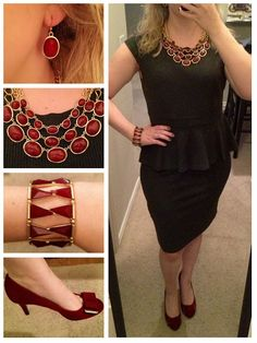 """""""Fine Wine"""" ... solid color dress with jewelry/shoe accent"""
