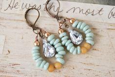 Jasmine. glass beaded, rhinestone drop, hoop earrings. tiedupmemories