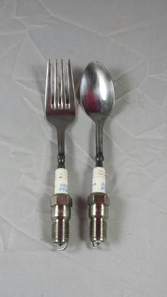 Spark plug Utensils.Spoon,Fork,Metal Art,Repurposed,Silverware,Cutlery,