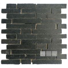 Black stone mosaic tiles / Black limestone anticato 2.3 cm x random lengths (price per mat 30x30cm)