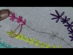 Hand Embroidery Designs - Lazy Daisy Stitch(variation)