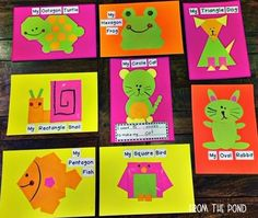 Printable teaching resources and clipart! Shape Activities Kindergarten, Kindergarten Art Lessons, 2d Shapes Activities, Counting Activities, Preschool Education, 2d And 3d Shapes, Shapes For Kids, Shape Pictures, Crafts With Pictures