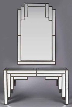 An Art Deco-Style Enameled and Mirrored Console and Mirror, c. 1977, the stepped rectangular mirror over a mirror top console with a bracketed apron and straight legs, mirror height 51 1/2 in., width 32 in., table height 30 1/2 in., width 54 in., depth 13 3/4 in.   Provenance: Jonathan's Restaurant, North Rampart St., New Orleans