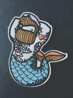 #bearded #merman #mermaid #bear #hoy #marine #artwork #patch #pin
