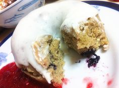 "Lemon Blueberry ""donut"" with cream cheese frosting and strawberry jam :)"