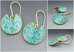 Modern turquoise blue polymer clay earrings with 14K gold filled earwires. $35.00, via Etsy.