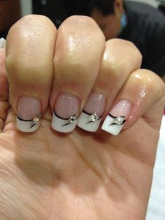 Civil wedding nails black and white french