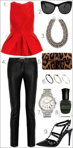 Black leather pants go perfectly with a red peplum top and retro strapped heels. The little basic details are your emerald manicure, an animal print clutch bag and a statement necklace. Don't overdo it with too much makeup.