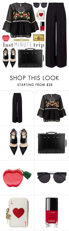 """""""Last Minute Trip"""" by lgb321 ❤ liked on Polyvore featuring Miss Selfridge, Globe-Trotter, Vera Wang, Kate Spade, Chanel and Kim Rogers"""