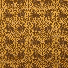Silk Damask ~12th c.~ Sicily ~ Brown griffins on ochre background. This griffin motifs on silk were originally woven for a vestment in 1181 in Sicily. Influence of Greece, Byzantium and Egypt can be seen in many Sicilian textiles and despite a short Islamic rule their decorative ideas influenced the arts of Sicily, including this pattern.