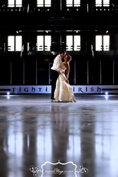 Wedding photos - the bride is a life-long skater; they met at Notre Dame/St. Mary's - Photo by http://www.jmstudios.com/