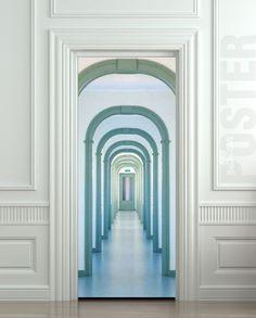 """Entrada ETIQUETA Puerta pasillo interior entrada ¿pasaje ciudad mural Película decole autoadhesiva 30x79 cartel """"(77x200 cm) /"""