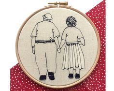 January Sale // 15% OFF was £30 now £25.50  Elderly couple holding hands, free hand machine embroidery on natural calico in 16 cm hoop. Item is beautifully gift ready presented inside luxury gift box.  All embroideries are made to order to please expect minor variations.